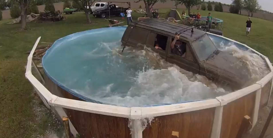 Jeep-in-pool