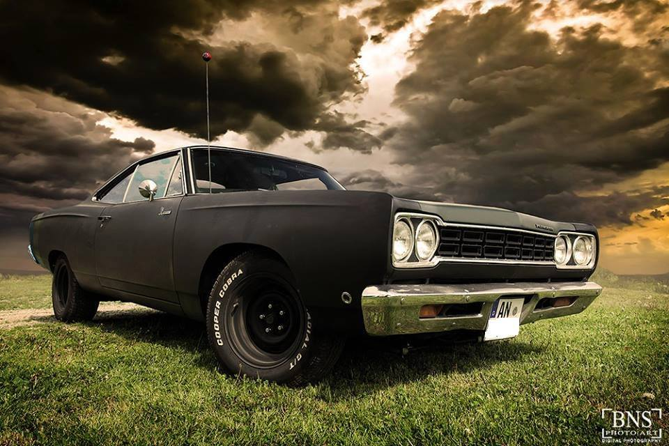 matte black 1968 plymouth road runner