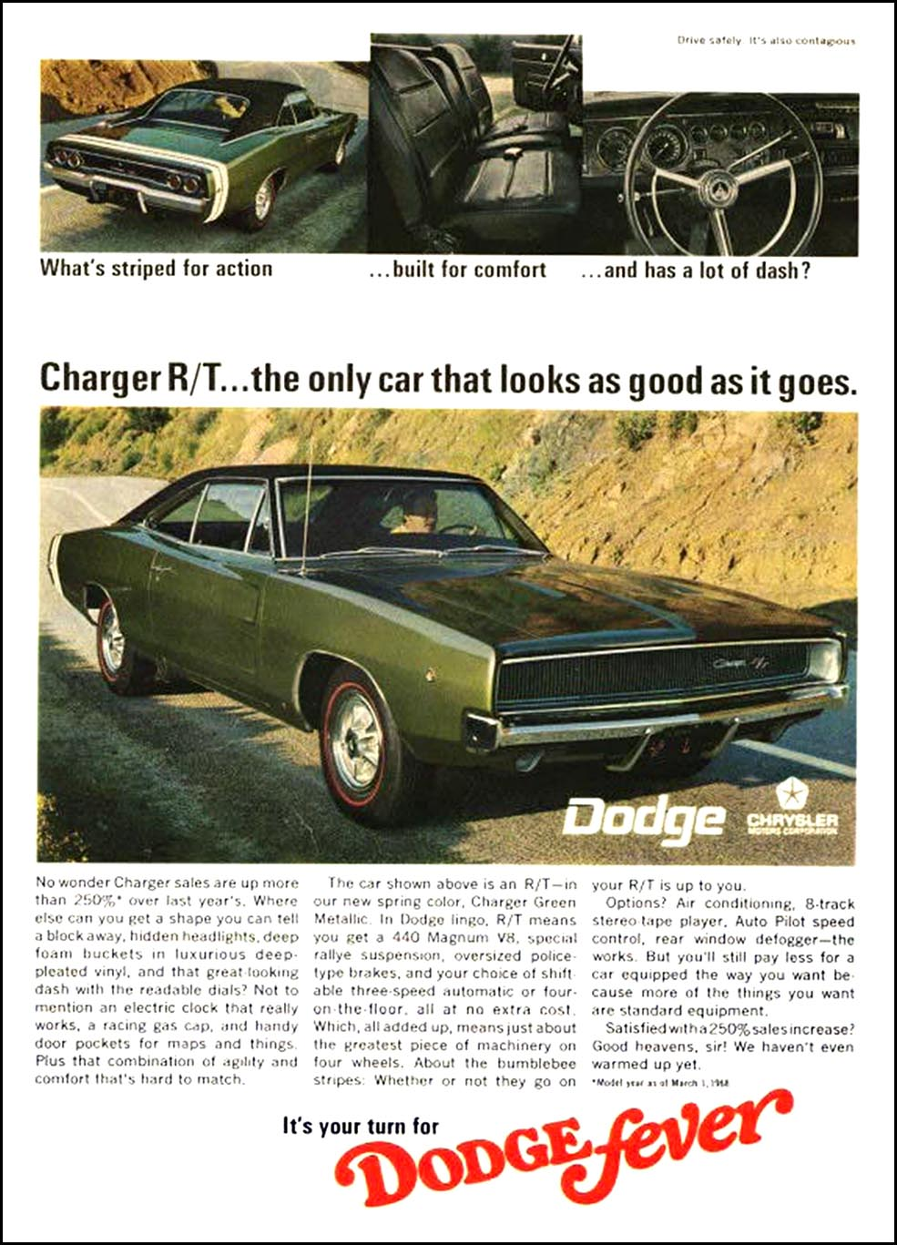 1968 dodge charger ads ad cars mopar classic chargers